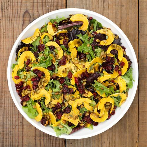 Mixed Green Salad with Delicata Squash & Pumpkin Seeds