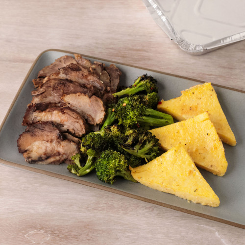 Roasted Pork with Parmesan Polenta and Broccoli