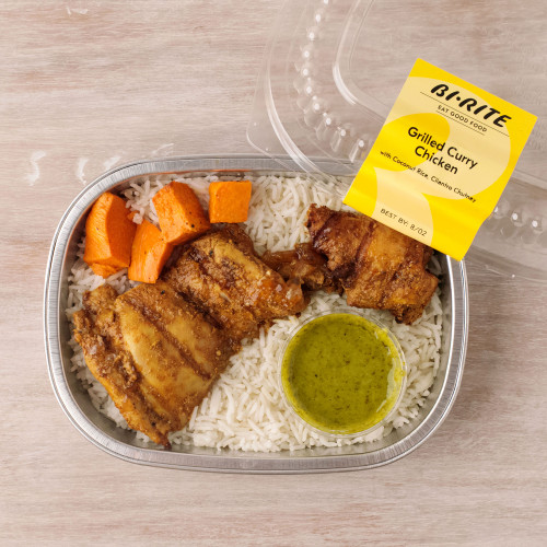 Grilled Curry Chicken with Cilantro Chutney