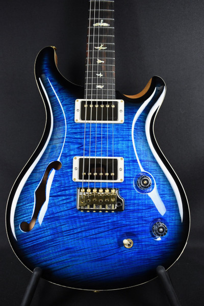 Preowned PRS WOOD LIBRARY CUSTOM 22 SEMI HOLLOW 1PC Aquamarine FLAME TOP