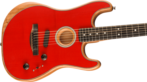 Fender American Acoustasonic Stratocaster 2020 Ebony Fingerboard, Dakota Red