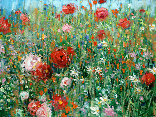 Red & Pink Poppies   Giclee Print