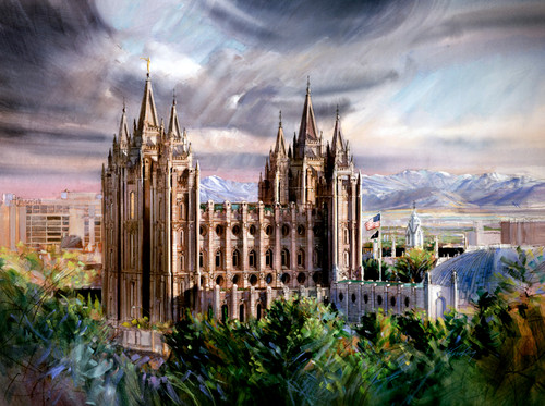Early Evening Salt Lake Temple  Giclee Print
