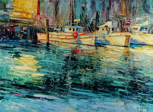 Blue Green Harbor Giclee Print