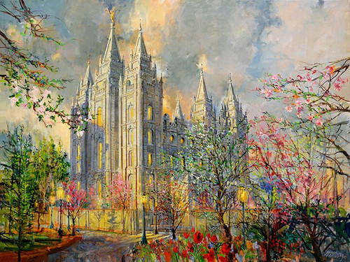 Salt Lake Temple Spring Giclee Print