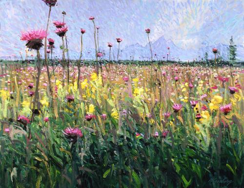 Pink Thistles & Mount Moran   Giclee Print