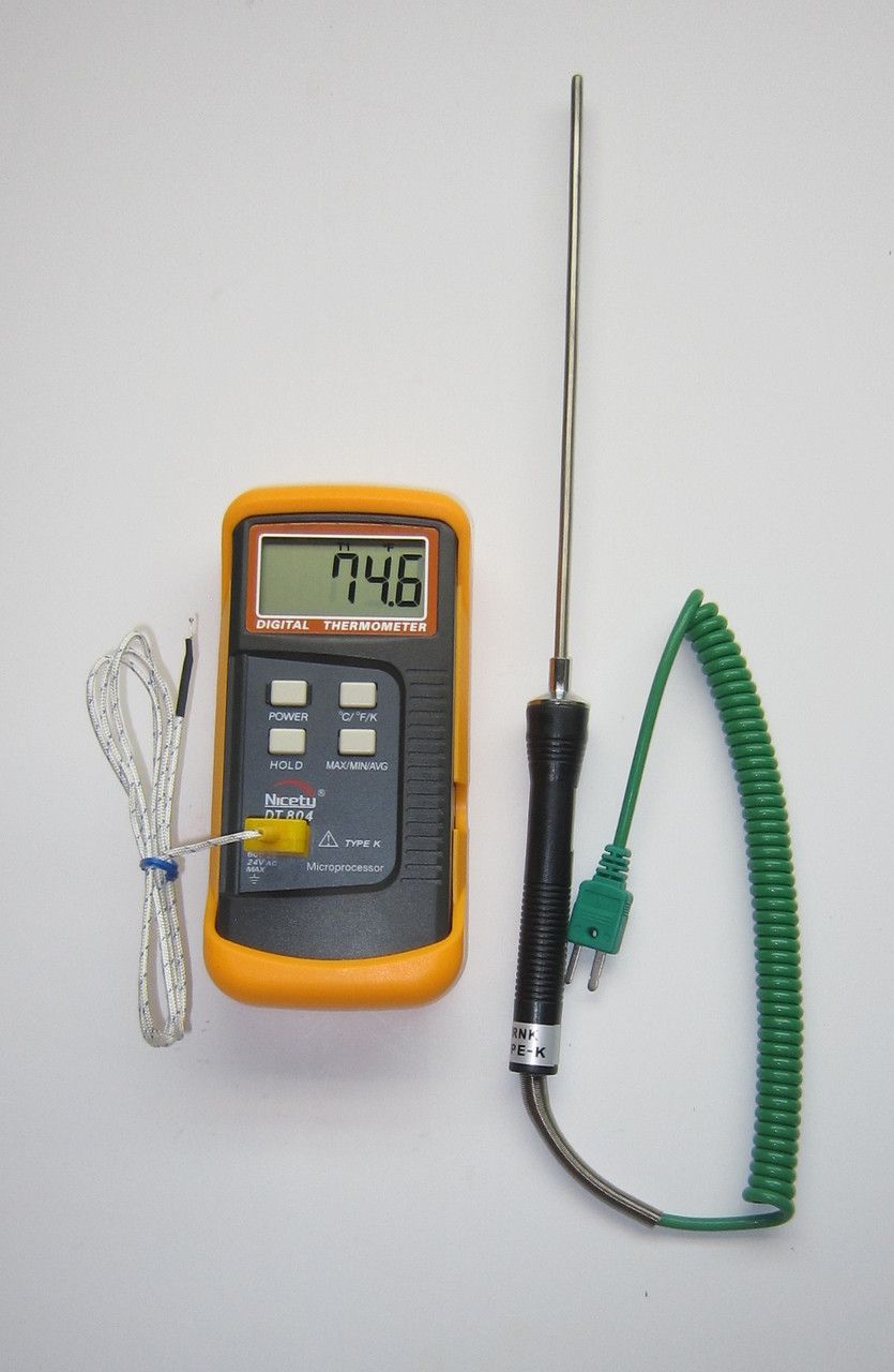 Digital K Type Thermocouple Thermometer Nicety DT804 With 8 Stainless Steel Probe