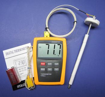 K-Type Thermometer w High Temperature Ceramic Probe Furnace Kiln CR-7