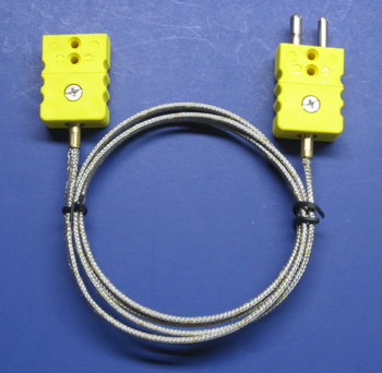 Industrial professional K-type extension cable, standard K-type thermocouple connectors, protected stainless steel cable