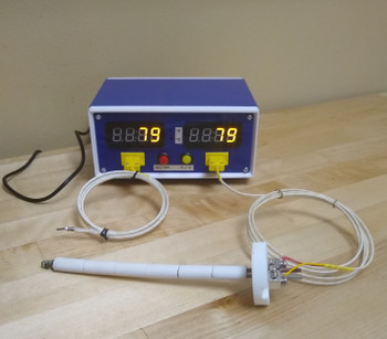 "Outlet Powered K-type Thermometer for Kiln and Forge with 2 Inputs and Large 0.56"" Display"