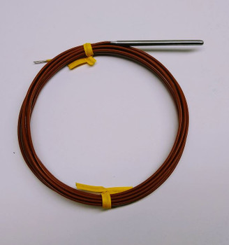 "2"" Stainless Steel K-type Thermocouple AWG24 with Teflon PFA Insulation 6ft with bare end"