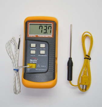 Digital k-type thermocouple thermometer DT804 with 3 inch stainless steel insertion probe TC-2