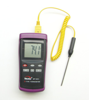 Digital K-type thermometer DT1311 with Stainless Steel sensor TC-2