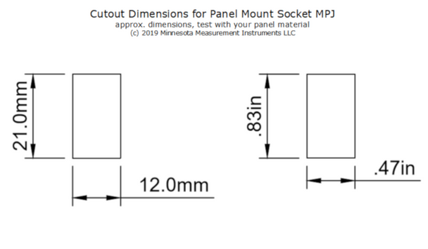 Cutout dimensions for the thermocouple socket MPJ-K