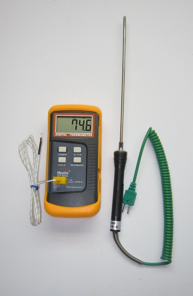 "Digital K-type thermocouple thermometer Nicety DT804 with 8"" stainless steel probe TC-4"