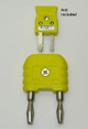 This adapter converts the small mini k-type thermocouple connector to a banana plug.