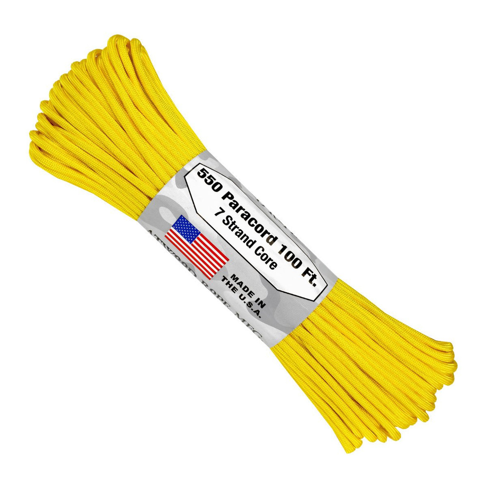 Paracord 550 Atwood Ropes - 100 ft (Yellow)