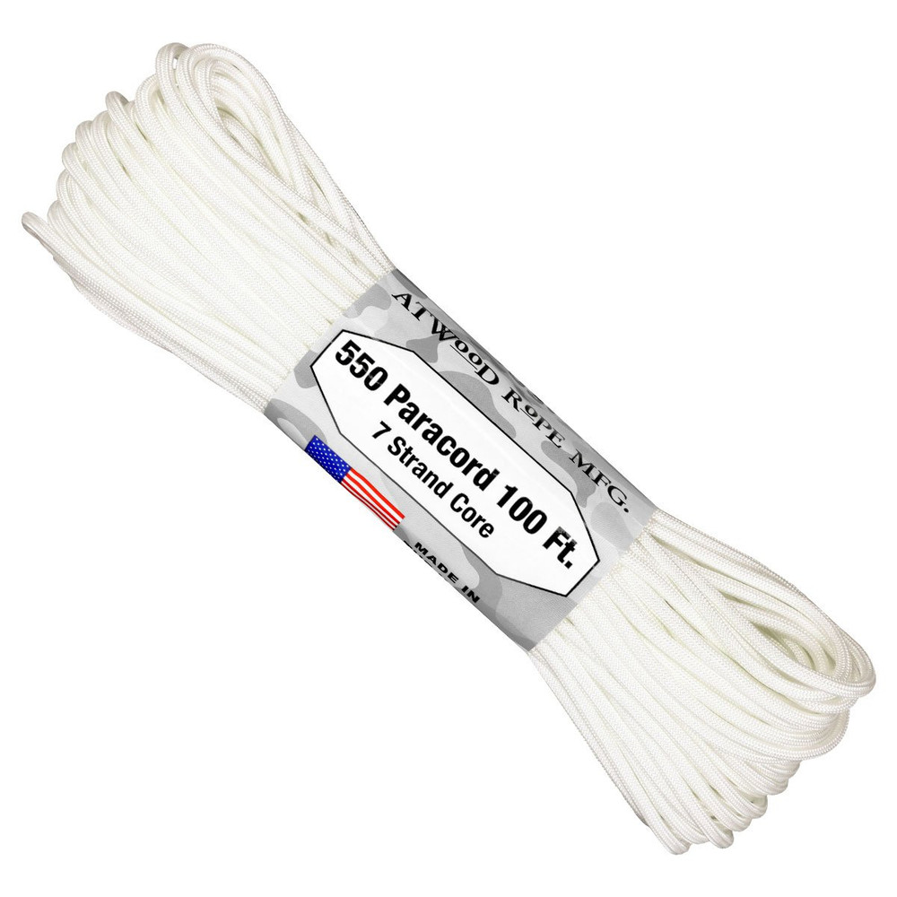 Paracord 550 Atwood Ropes - 100 ft (White)