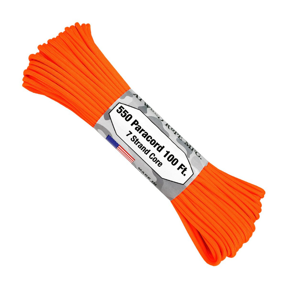 Paracord 550 Atwood Ropes - 100 ft (Neon Orange)