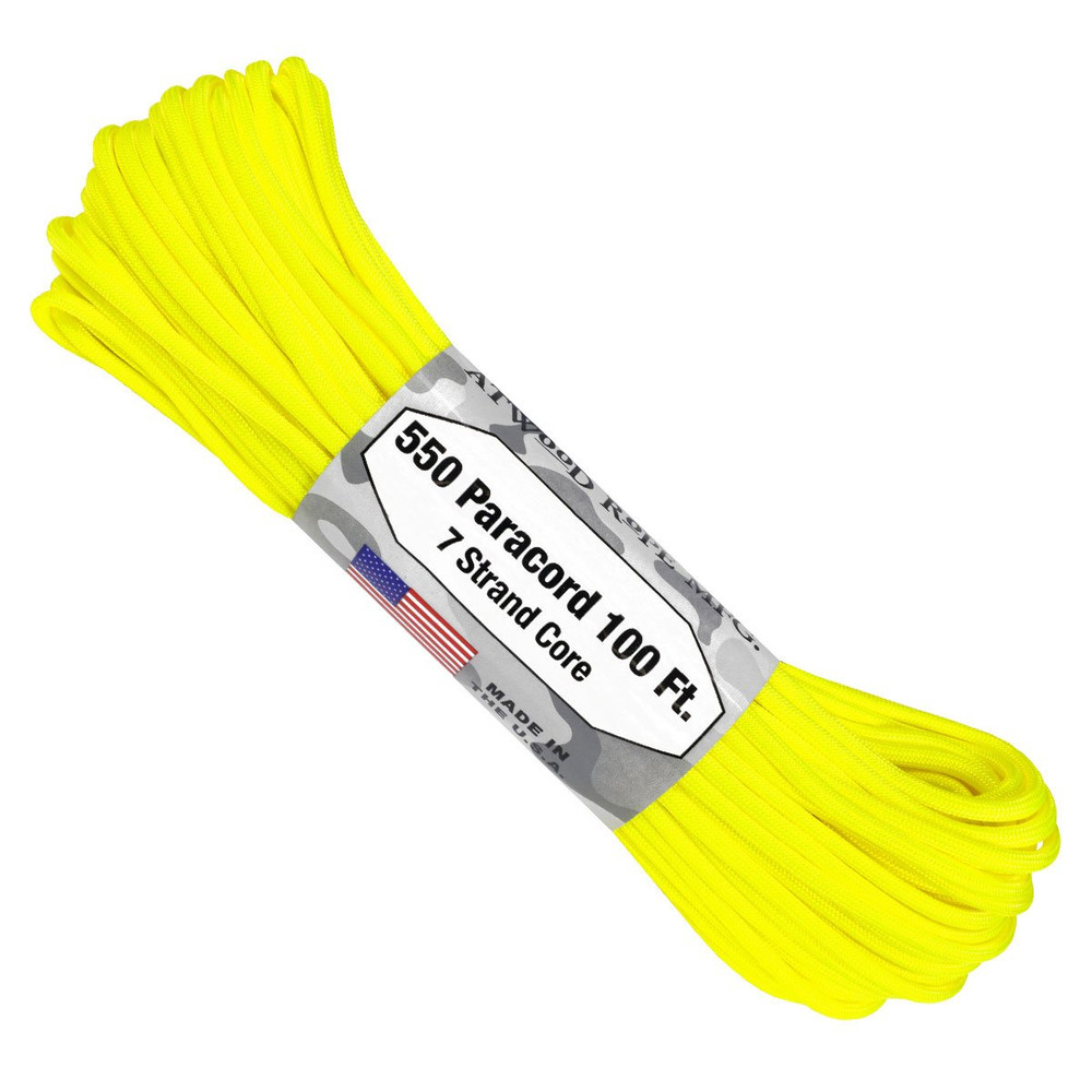 Paracord 550 Atwood Ropes - 100 ft (Neon Yellow)
