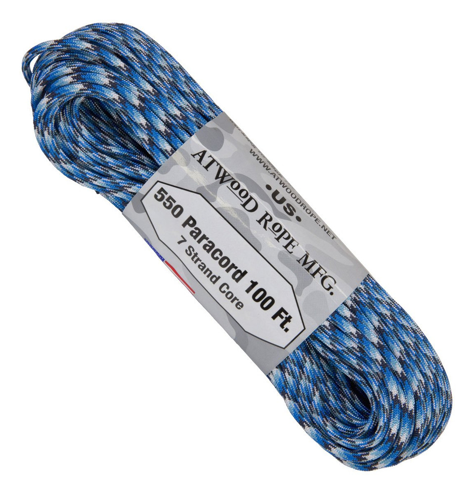 Paracord 550 Atwood Ropes - 100 ft (Blue Snake)