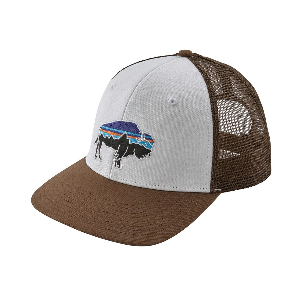 Patagonia Fitz Roy Bison Trucker Hat - White w/ Timber Brown