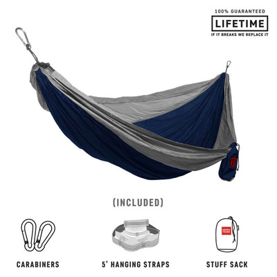Hamaca Grand Trunk Deluxe Double Parachute Nylon - Navy/Silver