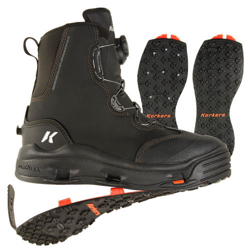 Korkers Devil's Canyon Wading Boots with Kling-On & Studded Kling-On Soles