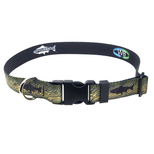RepYourWater Topo Trout  Large Dog Collar