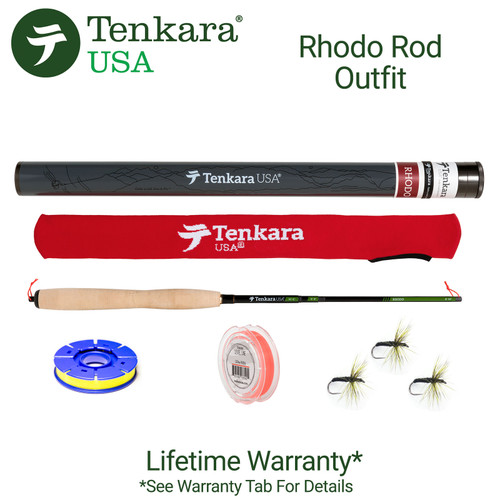 """Tenkara USA -Rhodo 8'10"""" - 10'6"""" Telescoping Fly Rod and Level Line Outfit"""