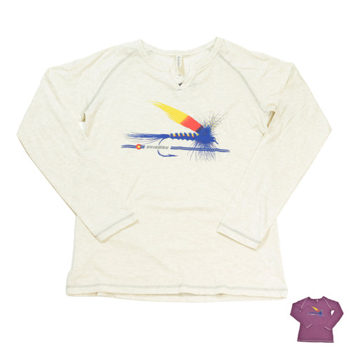 AvidMax Women's CO Painted Trout Fly Long Sleeve Tee