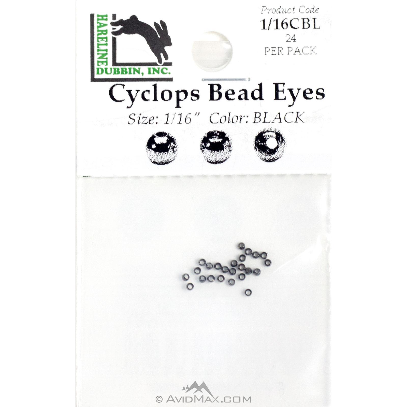 Hareline Cyclops Beads 3//32 Black