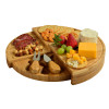 The Florence Cheese Set is a Bamboo Board that amazingly transforms from a wedge to a circular, multi level cheese board with two stainless steel tools.