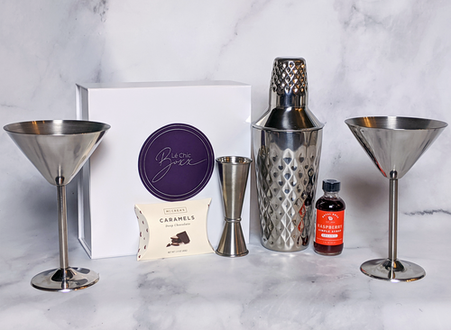 Martini Gift Set with Shaker, Jigger, stainless steel martini glasses