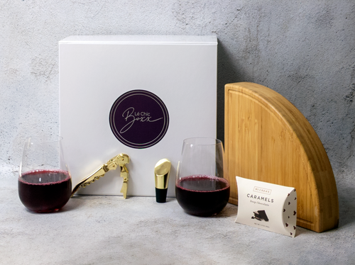 Wine lovers box with stemless crystal wine glasses, transforming bamboo cheese board, Viski gold corkscrew, Viski bottle stopper