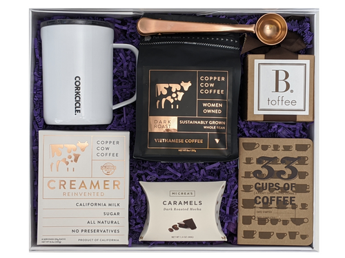 Vietnamese Coffee Boxx, Coffee and treat box. Toffee, whole bean coffee, corkcicle mug, coffee journal, caramels, coffee scoop and coffee creamers