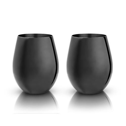 Gunmetal Stemless Wine Glasses by Viski®