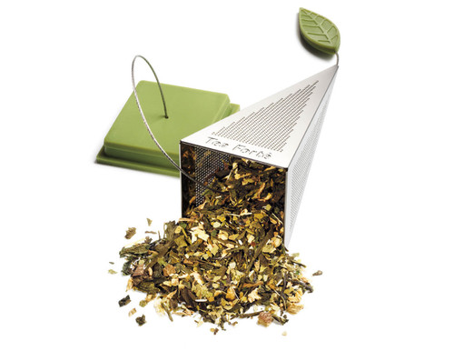 Stainless tea infuser.  Used in gift tea boxes