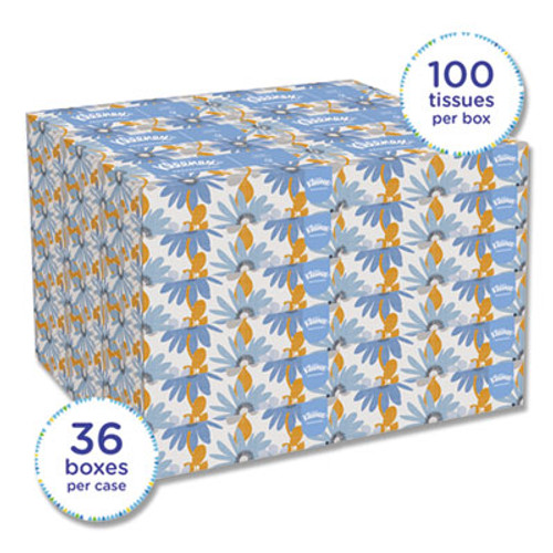 Kimberly Clark 21400 Kleenex White Facial Tissue, 2-Ply, Pop-Up Box, 100/Box, 36 Boxes/Carton