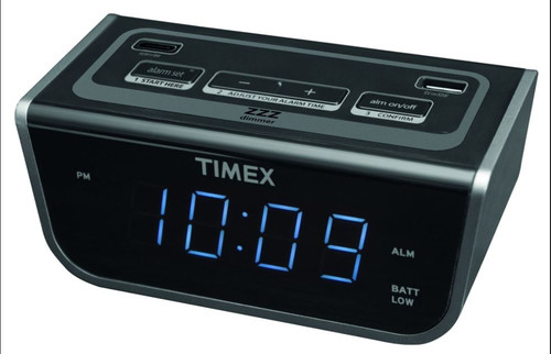 Timex Bedside LED Alarm Clock With Dual USB Charging 12/Case