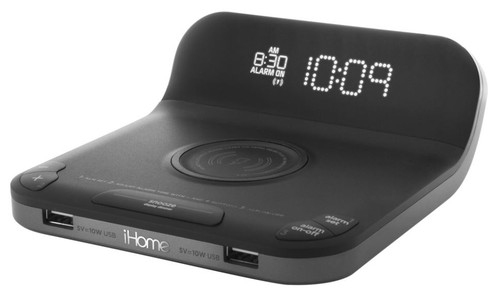 iHome Present Bedside Clock with Single Day Alarm, Fast Qi Wireless Charging and Dual USB Quick Charging 6/Case