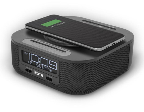 iHome Qi Wireless Charging Bluetooth Bedside Stereo Speaker Alarm Clock with Single Day Alarm, Dual USB Charging 4/Case
