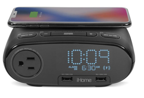 iHome Present Bedside Clock with Qi Wireless Charging, Single Day Alarm, AC Outlet, and Dual USB Quick Charging 4/Case