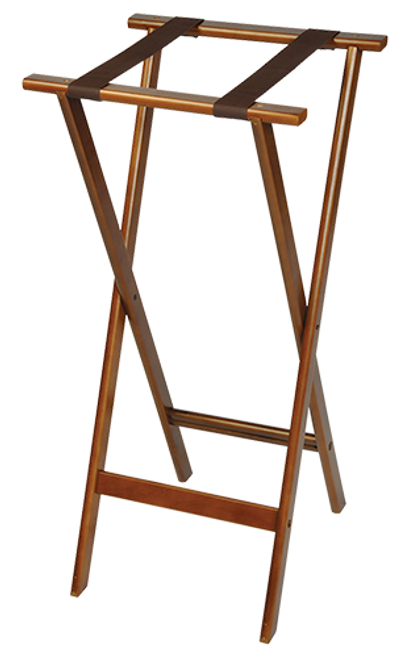 """Extra tall, deluxe tray stand with steel support rods for strength and durability   Durable hardwood frame Extra height reduces fatigue Steel support rods add strength and stability Rivet-hinge construction supports heavy loads Washable 2 1/4″ webbing Rounded edges reduce chipping Folds easily for storage Available in Dark Walnut with brown straps Size: 38″H x 185.""""W x 17″D"""