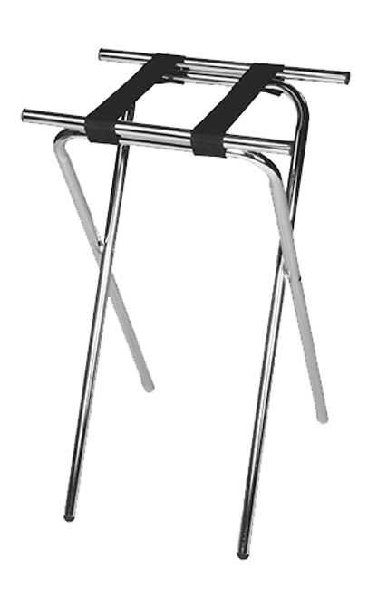 Deluxe steel tray stand, extra tall for comfort and ease of use by wait staff.   Durable 1″ tubular steel construction Extra height reduces fatigue Sturdy rivet-hinges will support heavy loads Stable, wide base Washable 2 1/4″ webbing Non-marking round plastic feet Folds easily for storage Available in Chrome and Black with black straps Size: 36″H x 19″W x 15″D