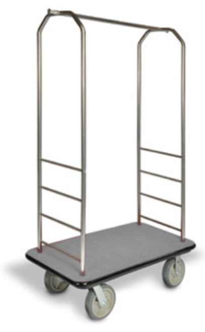 "This well-built bellman cart is the perfect luggage transporter. Easy to maneuver and durable, the Easy-Mover™ will make a great impression on your guests     Designed for easy elevator access Steel reinforced under carriage and solid 1"" plywood deck for durability 1"" tube construction with elegant chrome finish Stainless steel hanging bar with convenient hanging pegs for bags, back pack, and more Stain resistant carpet available in Gray, Red, or Black Wrap around bumper in black or non-marring gray to protect cart and walls Dimension: 72.5″H x 43″W x 23″D Proudly made in the U.S.A"
