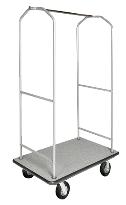 "This Traditional bellman's cart is the perfect transporter of luggage. Easy to maneuver and durable, this cart will always impress your guests.   Designed for easy elevator access Steel reinforced under carriage and solid 1"" plywood deck for durability 1"" tube construction with elegant gray powder coated finish Stainless steel hanging bar with convenient hanging pegs for bags, back pack, and more Stain resistant carpet available in Gray, Red Easy to maneuver with 2 swivel and 2 rigid 6″ gray poly casters Dimension: 72.5″H x 43″W x 23″D"