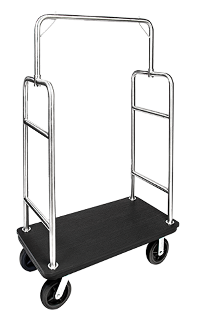 "Ideal for outdoor use, this elegant bellman's cart is made with a recycled plastic deck and stainless steel uprights. No more wet carpets or warped decks.   Deck made of durable, 3/4″ recycled plastic that will not warp The non-porous plastic has a non-slip, texturized top and is easy to clean 1.5"" tube construction with stainless steel finish will not rust Convenient garment hanging hooks Deck reinforced with steel undercarriage for durability Easy to maneuver with 8″ black pneumatic casters, 2 swivel; 2 rigid Dimension: 71″H x 43″W x 23″D"