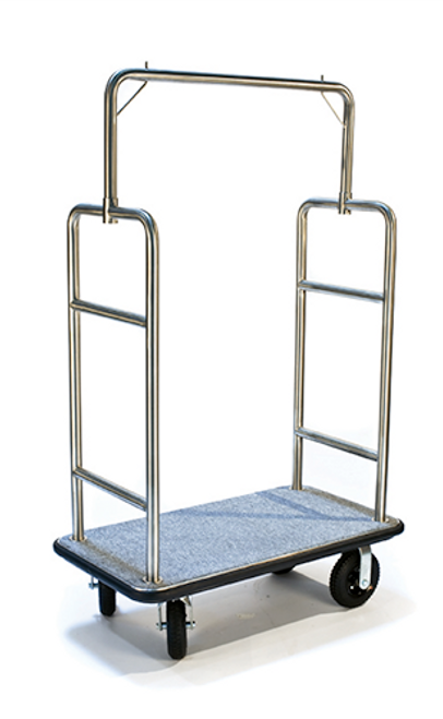 "This elegant bellman's cart will always make a great impression. The Gold Coast Series cart features two garment hooks and is easy to maneuver.   1.5"" tube stainless steel in attractive stainless steel finish Designed for easy elevator access Convenient garment hanging hooks Stain resistant gray carpet 8″ black pneumatic casters, 2 swivel; 2 rigid Dimension: 72″H x 44″W x 24″D"