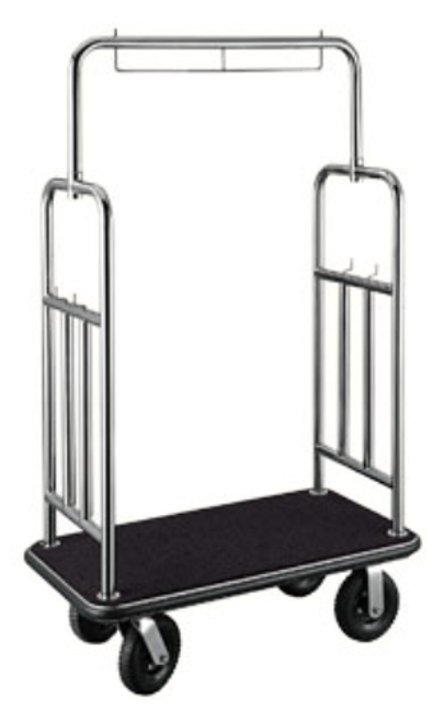 "This elegant bellman's cart will always make a great impression. The Town Square Series cart features a garment bar and convenient hooks ideal for bags, purses, suites and more.     1.5"" tube stainless steel in attractive stainless steel finish Designed for easy elevator access 1″ plywood base is reinforced with steel undercarriage for durability Stain resistant black carpet Easy to maneuver with 8″ black pneumatic casters, 2 swivel; 2 rigid Dimension: 71″H x 44″W x 24″D"